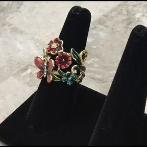 Jewelry - New Detailed Flower Butterfly Crystal Ring Sz 7